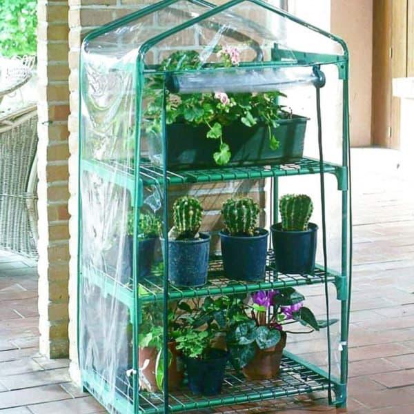 Invernadero de balc n 4 estantes plantea en verde - Invernadero en terraza ...