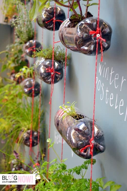 jardin vertical con botellas